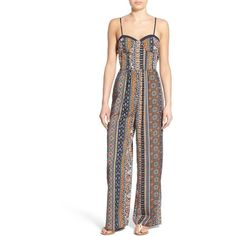 Band of Gypsies Print Sweetheart Jumpsuit ($48) ❤ liked on Polyvore featuring jumpsuits, navy, white jumpsuit, jump suit, white sleeveless jumpsuit, sweetheart corset and sleeveless jumpsuit