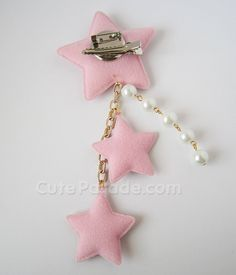 Pink Lolita Star Hair Clip/Brooch with White Pearls Fairy Kei