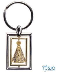 ce5a2cb20ab60 Chaveiro Quadrado Prata E Dourado De Nossa Senhora Aparecida