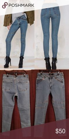 Nasty Gal Skinny Jeans vintage-inspired Nasty Gal Denim Collection is all about custom washes, perfect fits, and making your butt look good. This pair comes in a medium wash and features yellow seamed detailing at knees, silver zip closures at front pockets, and zip/button closures at front. Back pockets, unlined. Throw them on with your favorite leather jacket and a tissue-thin tank. Nasty Gal Jeans Skinny