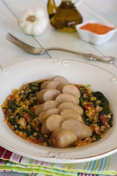 Cinco Quartos de Laranja: Salsichas com lentilhas e espinafres
