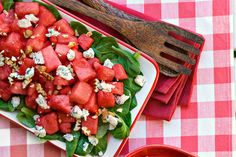 Watermelon, Mache, and Pecan Salad Recipe: Take two Southern icons, watermelon and toasted pecans, and combine them with slightly sweet, nutty mâche (a tender lettuce), and you have one out-of-this-world salad.