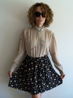 Vintage Tan High Collar Button Up Blouse with by FunkyOldSoul, $16.00