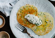 Pea Pancakes With Tzatziki #pancakes #recipes #healthy