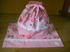 Lunch Bag ハンドメイド お弁当袋&ランチョンマット いちご柄ピンク インテリア 雑貨 Handmade ¥300yen 〆05月25日