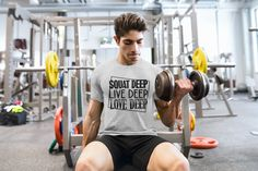 Deep Squat, Gym Tank Tops, Hard Workout, Deep Love, Gym Training, Mma, Squats, Personalized T Shirts, Gym Wear