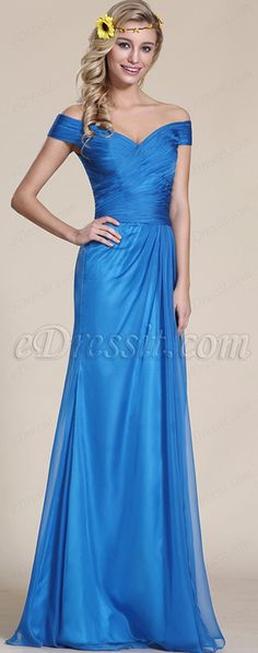 Off Shoulder Blue Bridesmaid Dress