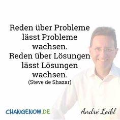 Reden über Probleme lässt Probleme wachsen. Reden über Lösungen lässt Lösungen wachsen. (Steve de Shazar)