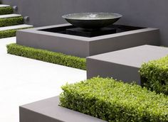 gorgeous water feature - Peter Fudge, keeping the boxwood low and contained in the cemented box Contemporary Garden Design, Modern Landscape Design, Modern Landscaping, Contemporary Landscape, Outdoor Landscaping, Outdoor Gardens, Outdoor Water Features, Pool Water Features, Water Features In The Garden