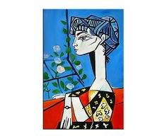 """Reprodukce obrazu """"Jacqueline with flowers"""", 60 x 90 cm Pablo Picasso, Disney Characters, Fictional Characters, Disney Princess, Gallery, Artist, Flowers, Cards, Inspiration"""