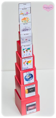 DIY Cosmic Nesting Boxes are easy to make at home to introduce Montessori Cosmic Education Classifications to kindergarten and elementary children. Maria Montessori, Montessori Preschool, Montessori Education, Montessori Elementary School, Preschool Kindergarten, Elementary Education, Science For Kids, Activities For Kids, Science Diy