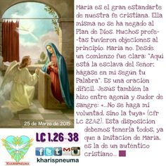 """Del Santo Evangelio según SanLucas 1,26-38  """"En aquel tiempo, el ángel Gabriel fue enviado por Dios a una ciudad de Galilea, llamada Nazaret, a una virgen desposada con un varón de la estirpe de David, llamado José. La virgen se llamaba María. Entró el ángel a donde ella estaba y le dijo: """"Alégrate, llena de gracia, el Señor está contigo"""". Al oír estas palabras ella se preocupó mucho y se preguntaba qué querría decir semejante saludo. El ángel le dijo: """"No temas, María, porque has hallado…"""