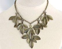 Brass Leaf Necklace, Bib art deco jewelry, fall autumn gold gild 16 inch necklace