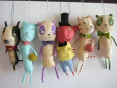Spun Cotton ornament miniature animals 2 by maria pahls