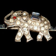 KTF Trifari 'Alfred Philippe' Miniature Pave and Sapphire Baguette Elephant Bar Pin or Tie Pin