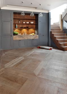 Antique grey distressed 380mm large panel flooring. Proof that parquet flooring doesn't have to 'busy' in style www.element7.co.uk