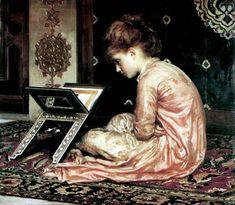 Study at a reading desk acad, 1877 - Frederic Leighton (1830-1896). Peintre et sculpteur anglais
