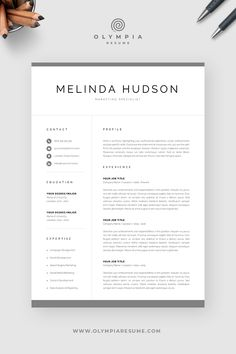 Modern Resume Template for Word & Mac Pages Creative Cv Template, One Page Resume Template, Modern Resume Template, Cover Letter For Resume, Cover Letter Template, Olympia, Resume References, Create A Resume, Microsoft Word 2007