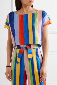 Mara Hoffman - Striped Organic Linen Top - Blue - x small