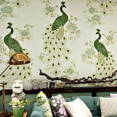 Chinese style wallpaper mural fantasias papel de parede wall papers home decor peacock 3D wall paper 5 colors black wallpaper