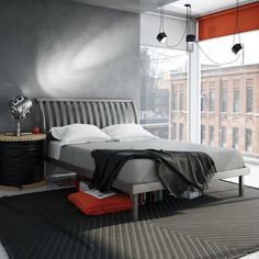 AMISCO - Newton Bed (12169) - Furniture - Bedroom - Urban collection - Contemporary - Platform footboard bed