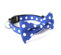 Dog cat bow tie collar Blue Polka dot by usagiteam on Etsy, $34.00