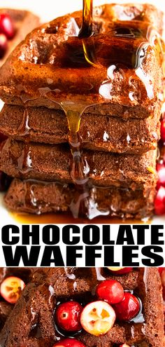 CHOCOLATE WAFFLES RECIPE- The best quick and easy chocolate waffles, homemade with 4 simple ingredients. Starts off with chocolate cake mix. Best Breakfast Recipes, Best Cookie Recipes, Brunch Recipes, Sweet Recipes, Dessert Recipes, Dinner Recipes, Brunch Dishes, Summer Recipes, Chocolate Waffles