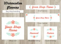 Etsy shop banner set, flowers cover banner, watercolor flowers shop banner, premade flowers banner set, shop graphics, shop icon banner by GiuliaBelfioriGadget
