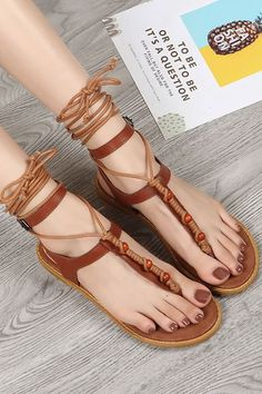 14c250acb441 Women Brown Lace Up Bead Thong Flat Gladiator Sandals - 6