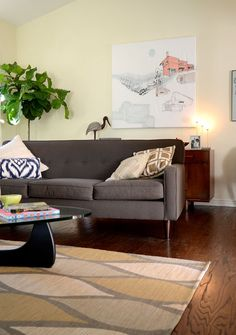 Gray sofa - love the rug