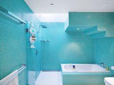 Light blue bathroom walls blue bathroom walls surprising blue bathroom wall tiles inspirational examples of blue . Aqua Bathroom, Mosaic Bathroom, Bathroom Wall, White Bathrooms, Family Bathroom, Feature Tiles, Courtyard House, Spas, Open House