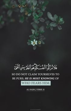 Surah An-Najm He is most knowing of who fears Him Quran Quotes Love, Beautiful Quran Quotes, Quran Quotes Inspirational, Allah Quotes, Islamic Love Quotes, Muslim Quotes, Religious Quotes, Arabic Quotes, Motivational Quotes