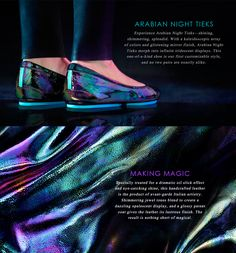 Expertly handcrafted in Italy, Arabian Night Tieks are a work of art. With a black base, vibrant jewel tone spectrum, and patent shine, this iridescent leather will open your eyes to endless wardrobe possibilities year-round. Tieks Ballet Flats, Tieks Shoes, Wardrobe Basics, Work Wardrobe, Wardrobe Ideas, Capsule Wardrobe, Sweet Style, My Style, Tieks By Gavrieli