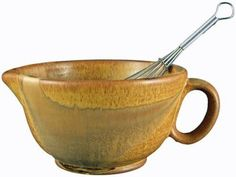 PRADO STONEWARE COLLECTION  Perfect Grip 30 Ounce Mixing Bowl With Metal Whisk  Rustic Brown