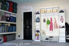 DIY mud room in the Garage! Great idea- need to find a good carpenter to build this for us!
