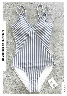 Hot Restock! Beach travel so easy just like go swimming in pools~ The only inevitable necessity you lack is a vintage stripe-printed one-piece beach wear like this. Timeless & Comfy~ Free shipping & Check it out.
