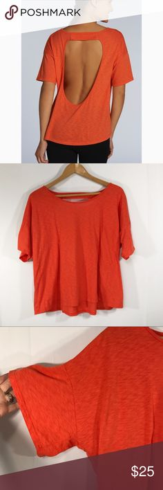 {Fabletics} open back Tee Fabletics open back tee Super flowy and comfortable  Open back -tee shirt  Deep orange   Length-22 in front 25 in back  Pit to pit-25  Size XXL Fabletics Tops Tees - Short Sleeve