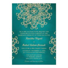 Teal And Gold Indian Style Wedding Invitation, Indian Wedding Invitations, Wedding Invitation Cards, Wedding Themes, Wedding Stationery, Birthday Invitations, Wedding Cards, Wedding Ideas, Wedding Venues, Invites