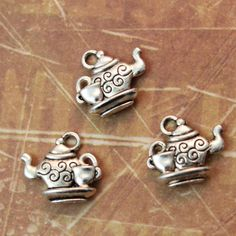 10 Tea Pot and Cup Charms Teapot and Cup Pendants Coffee Pot and Cup Charms Antiqued Silver Double Sided 12 x 20mm