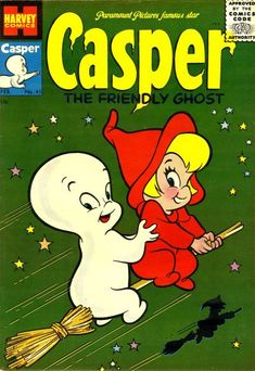 "brokusatsu: "" Left: The original Harvey Comics Casper the Friendly Ghost issue #41 (1956) Right: A more sinister version of the cover by David Hartman """