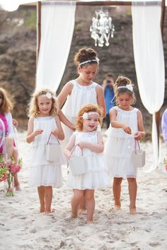 Beach flower girls, page boy, beach wedding inspiration, wedding with k Beach Flower Girls, Beach Wedding Flowers, Beach Wedding Decorations, Flower Girl Dresses, Beach Wedding Groomsmen, Beach Wedding Attire, Beach Wedding Inspiration, Wedding With Kids, Bridesmaid Dresses