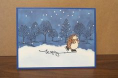 Hedgie makes a scene by AnnetteMac - Cards and Paper Crafts at Splitcoaststampers - love the 'skating sentiment'