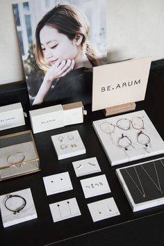 ARUM is a Seoul-based jewelry brand which takes beautiful Korean lettering an BE.ARUM is a Seoul-based jewelry brand which takes beautiful Korean lettering an.ARUM is a Seoul-based jewelry brand which takes beautiful Korean lettering and we Jewelry Booth, Jewelry Armoire, Jewelry Holder, Necklace Holder, Diy Schmuck, Schmuck Design, Tiffany Jewelry, Gold Jewelry, Fabric Jewelry