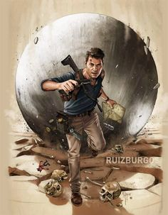 Ruiz Burgos Uncharted 4 illustration for French magazine The Game Nathan Uncharted, Uncharted Series, Nathan Drake, Indiana Jones, Video Game Art, Video Games, Adventure Games, Game Concept Art, Magazine Art