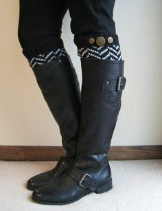 Totally digging the leg warmers this winter.  Chevron Crest  BLACK Chevron Leg Warmers w/ by GraceandLaceCo, $26.00