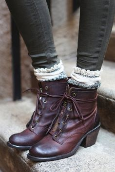 they are made by free people Aberdeen Lace Up Boot  socks are on their site too