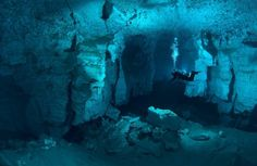 RUSSIA, Ordynskaya Cave, is the largest underwater gypsum cave in the World
