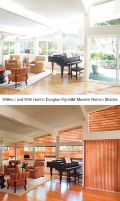 Create a welcoming look with the sophistication and warmth of Vignette® Modern Roman Shades ♦ Hunter Douglas Window Treatments www.westwindowfashions.com