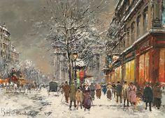 Antoine Blanchard  (1910 - 1988)  Rue Royale, La Madeleine sous la Neige