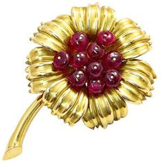 No Heat Burmese Ruby Gold Flower Pin by Cartier Cartier Jewelry, Ruby Jewelry, Ethnic Jewelry, Jewelery, Fine Jewelry, Ruby Beads, Antique Brooches, Natural Ruby, Gold Flowers